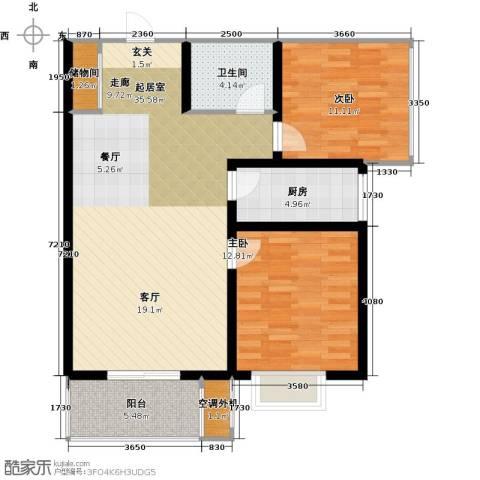 亿博豪轩2室0厅1卫1厨86.00㎡户型图