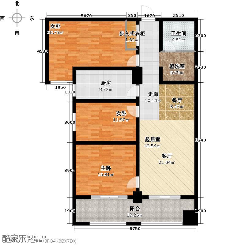 南阳长安玉龙苑143.48㎡三室两厅一卫户型3室2厅1卫