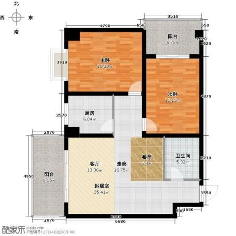 南阳长安玉龙苑2室0厅1卫1厨117.00㎡户型图