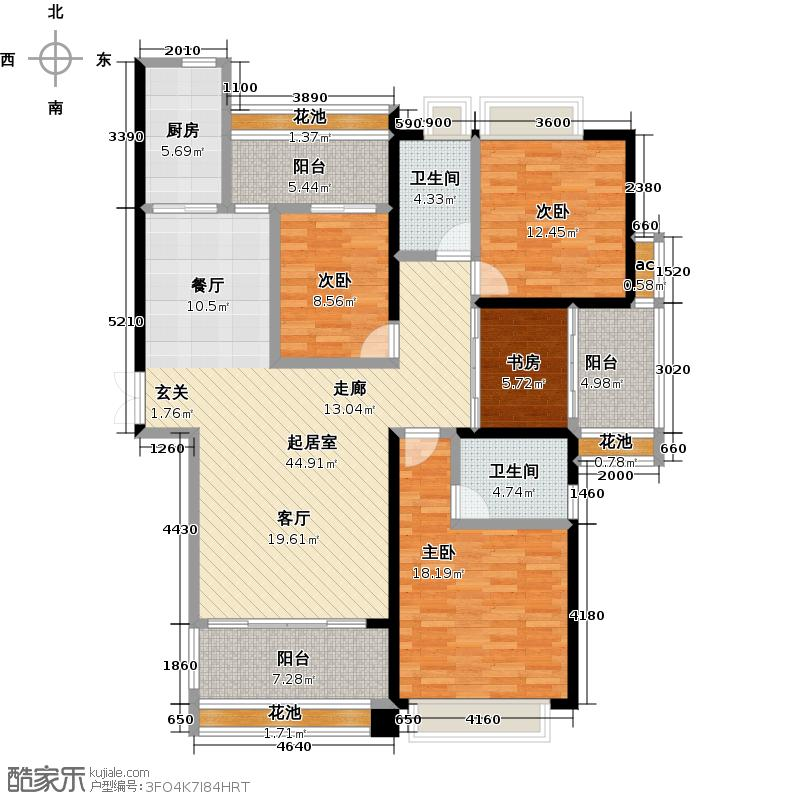新大陆壹号162.83㎡09#01四房两厅两卫三阳台户型4室2厅2卫