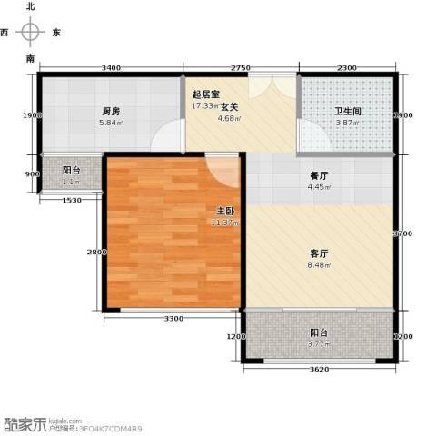 月亮湾1室0厅1卫1厨59.00㎡户型图