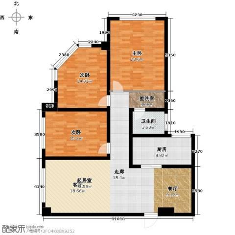 南阳长安玉龙苑3室0厅1卫1厨133.00㎡户型图