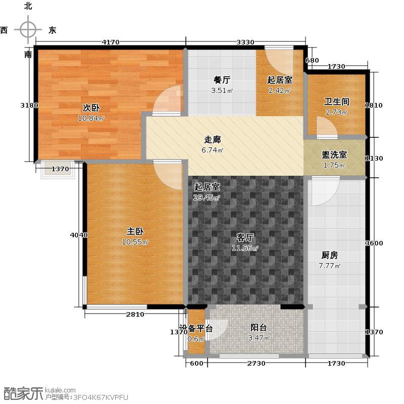 红杉公馆79.82㎡赫本系列15、22号楼G户型两室两厅一卫户型2室2厅2卫