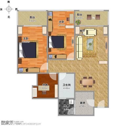 金科公园王府3室1厅1卫1厨125.00㎡户型图