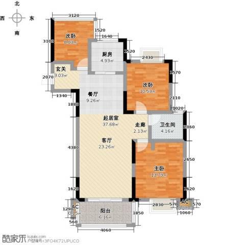 嘉宇万豪名苑3室0厅1卫1厨98.00㎡户型图