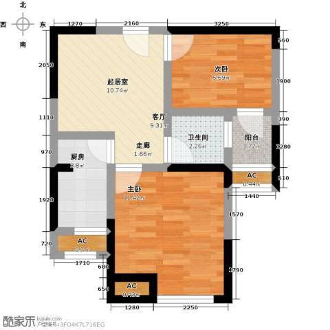 国金怡桂苑2室0厅1卫1厨47.00㎡户型图