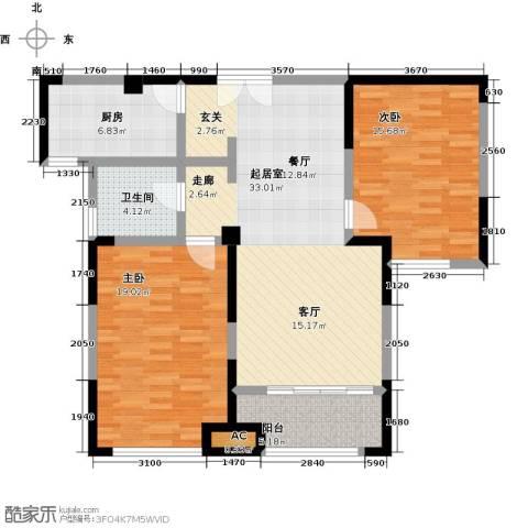 国金怡桂苑2室0厅1卫1厨98.00㎡户型图