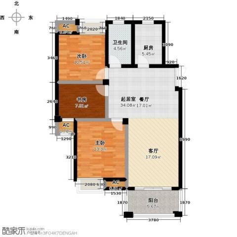 皇马公寓3室0厅1卫1厨98.00㎡户型图