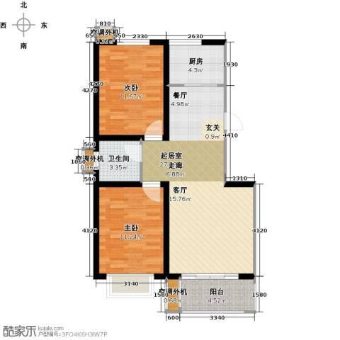 亿博豪轩2室0厅1卫1厨73.00㎡户型图