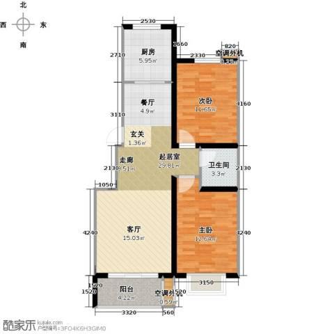 亿博豪轩2室0厅1卫1厨75.00㎡户型图