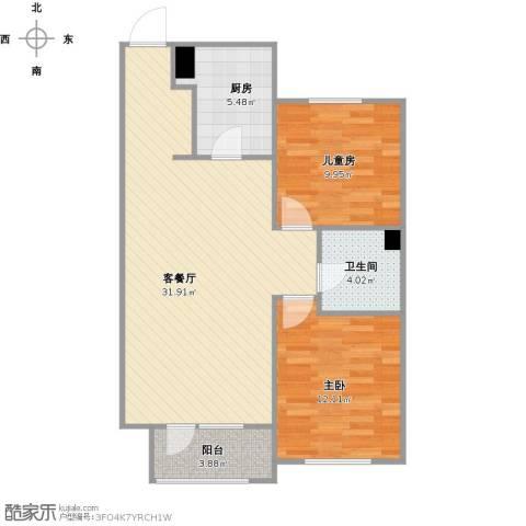 华润凯旋门2室1厅1卫1厨91.00㎡户型图