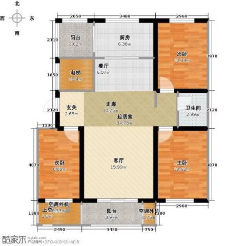 亿博豪轩3室0厅1卫1厨100.00㎡户型图