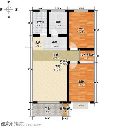 亿博豪轩2室0厅1卫1厨95.00㎡户型图