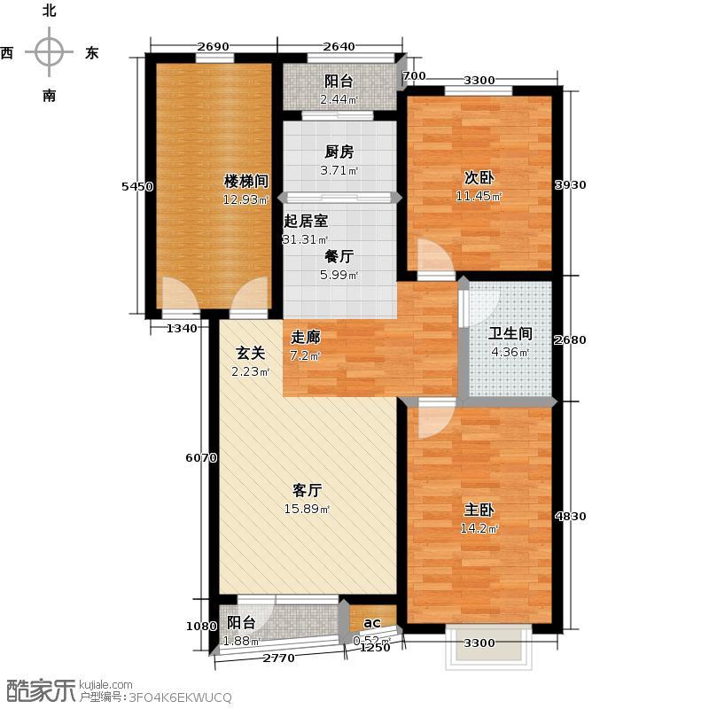 天嘉水晶城88.66㎡多层A户型 二室二厅一卫户型