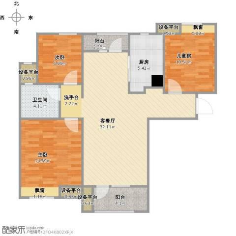 金地格林东郡3室1厅1卫1厨113.00㎡户型图