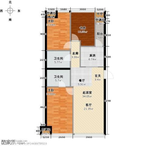 UHN国际村3室0厅2卫1厨136.00㎡户型图