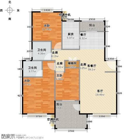 浔城湖锦3室1厅2卫1厨114.00㎡户型图