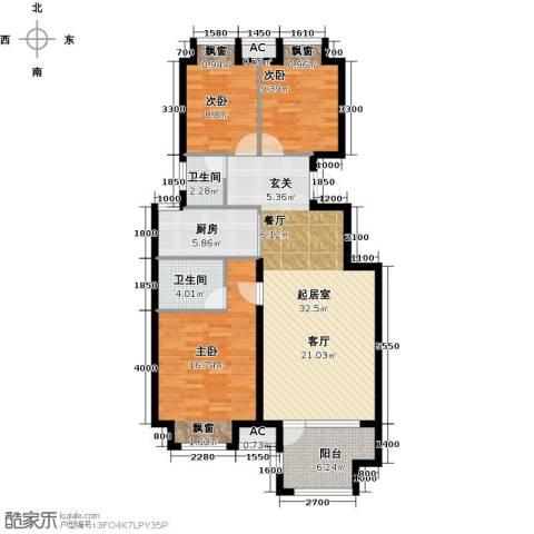荣盛香醍荣府3室0厅2卫1厨124.00㎡户型图