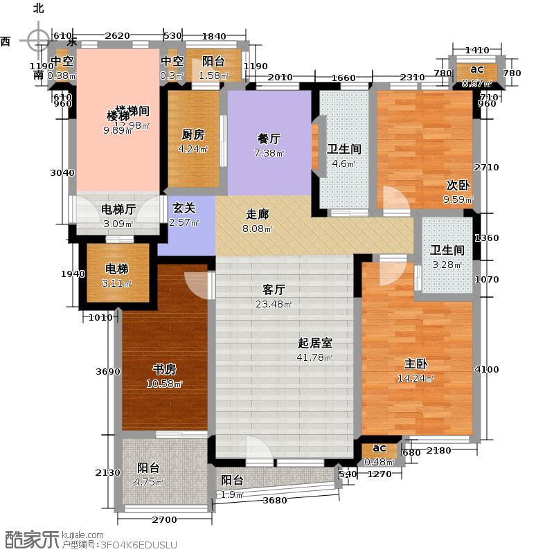 天嘉水晶城128.79㎡F户型 三室二厅二卫户型