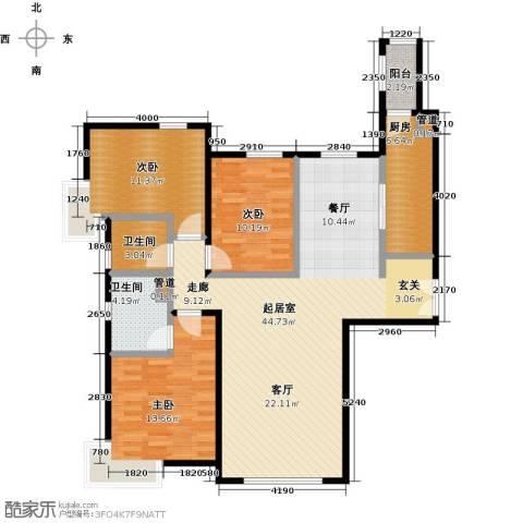 富力津门湖3室0厅2卫1厨140.00㎡户型图