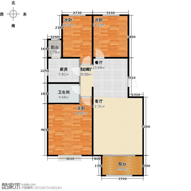 香榭花堤户型3室1厅1卫1厨
