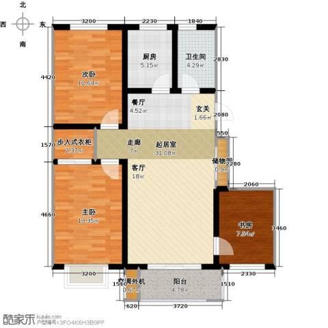亿博豪轩3室0厅1卫1厨110.00㎡户型图