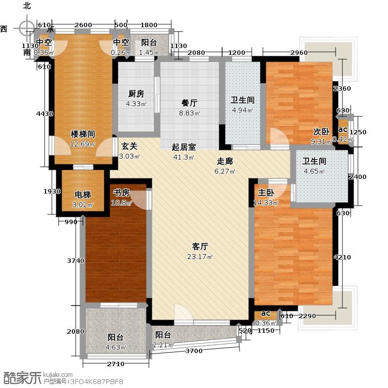天嘉水晶城131.17㎡G户型 三室二厅二卫户型