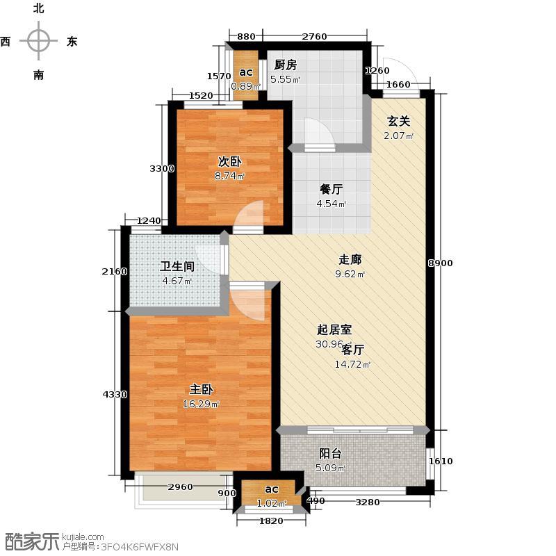 金科城86.00㎡B户型两室两厅一厨一卫户型2室2厅1卫
