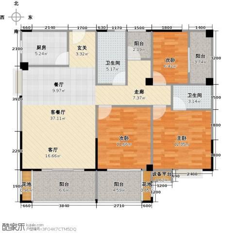 华泉盛世豪庭3室1厅2卫1厨138.00㎡户型图