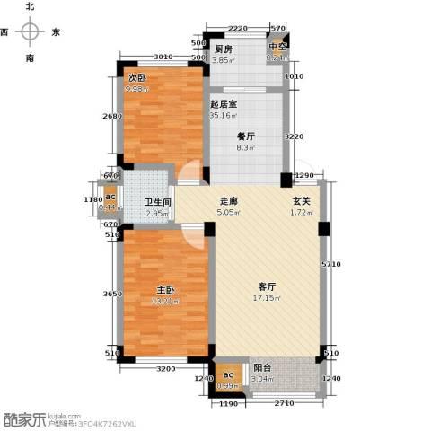 金越逸墅蓝湾2室0厅1卫1厨86.00㎡户型图