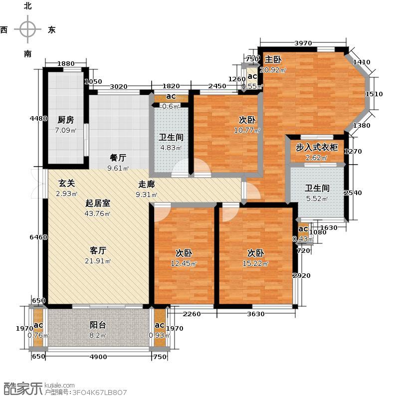 龙腾国际花园186.82㎡D2户型 四室两厅两卫户型4室2厅2卫