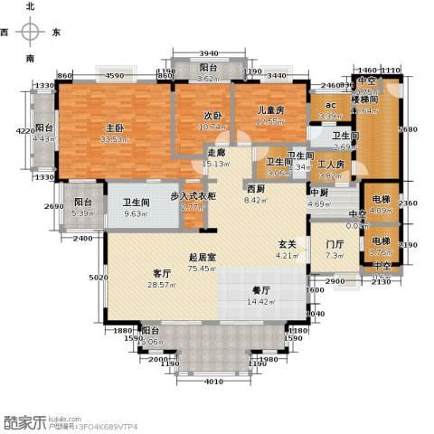 东部华侨城天麓3室0厅4卫0厨307.00㎡户型图