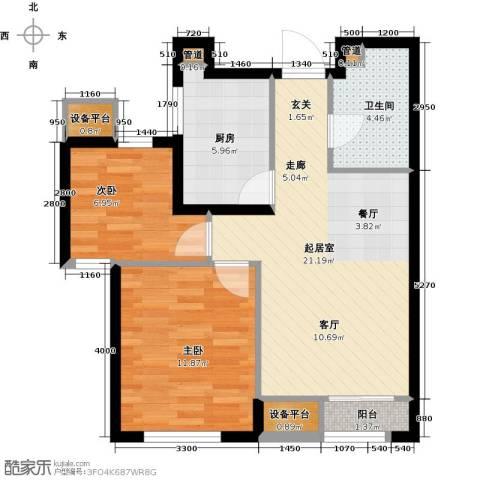龙跃财富公馆2室0厅1卫1厨81.00㎡户型图