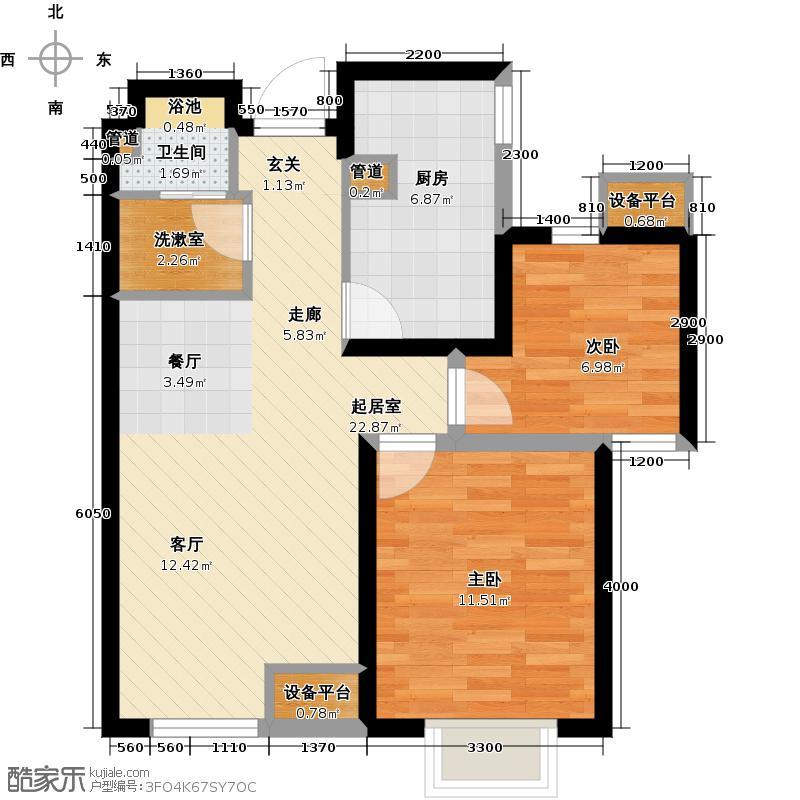 龙跃财富公馆81.00㎡C户型2室2厅1卫