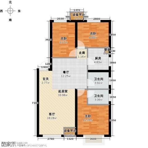 龙跃财富公馆3室0厅2卫1厨116.00㎡户型图