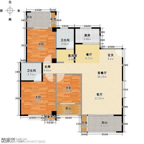 华泉盛世豪庭3室1厅2卫1厨123.00㎡户型图