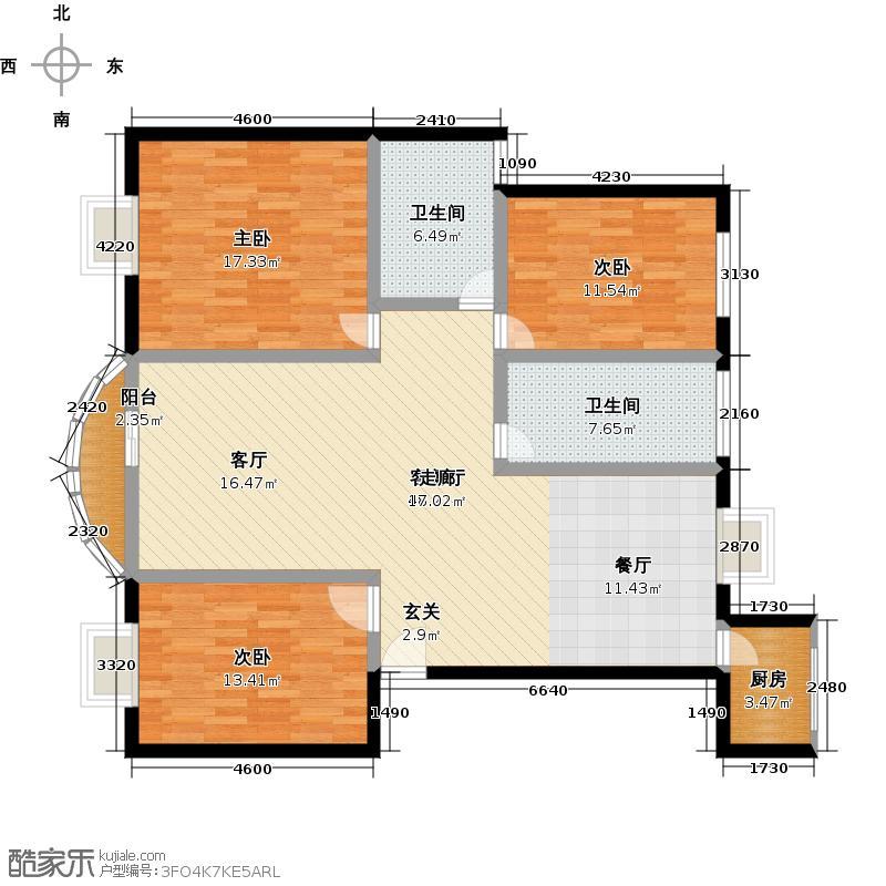 水语人家125平方米三室两厅两卫户型