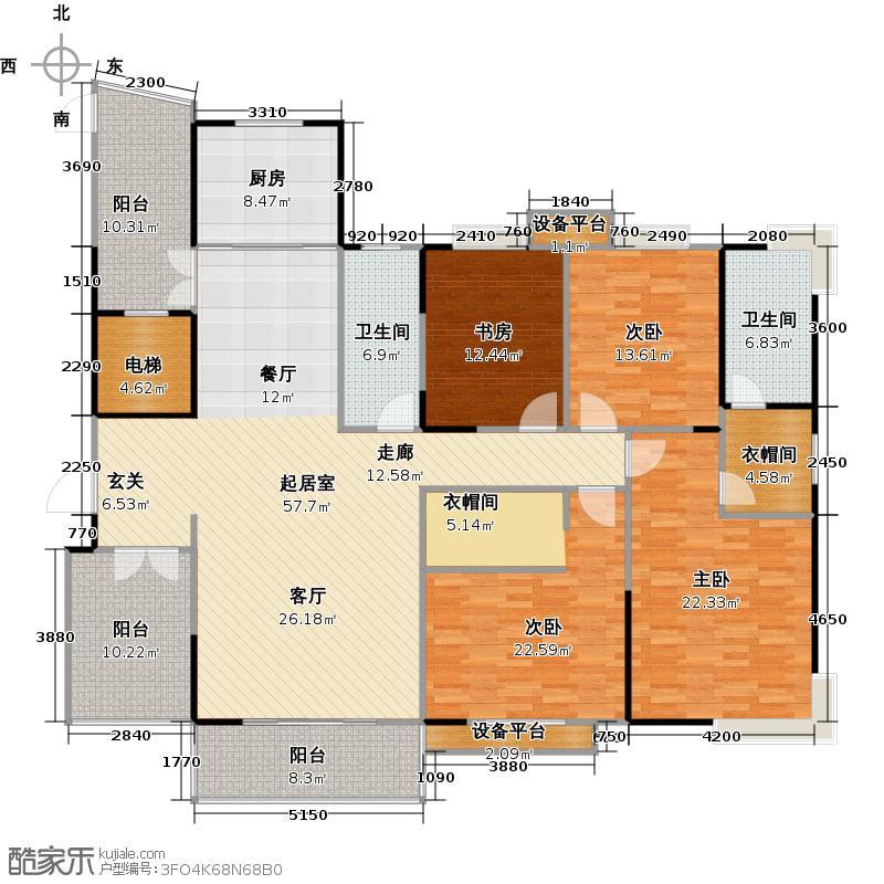 中央花园206.00㎡四房二厅二卫-206平方米-42套。户型