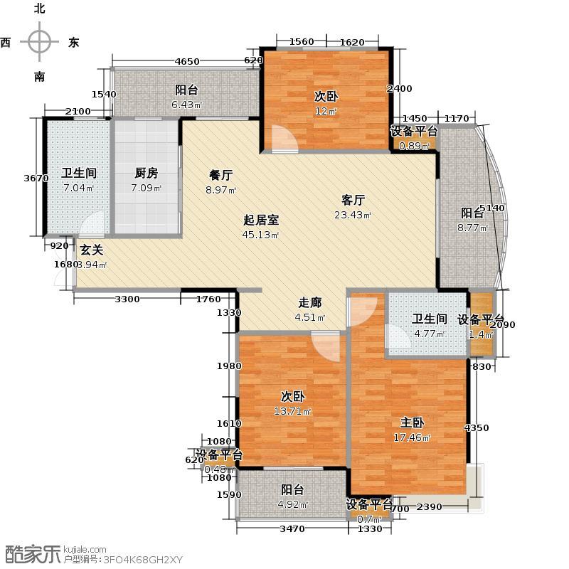 中央花园141.00㎡中央花园四期17#J户型图户型3室2厅2卫