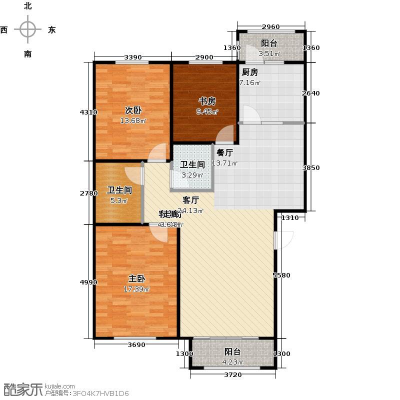 香榭花堤户型3室1厅2卫1厨