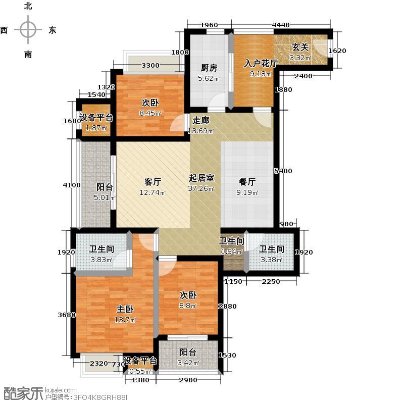 美林・君渡147.00㎡C-1户型三室两厅一卫户型3室2厅1卫