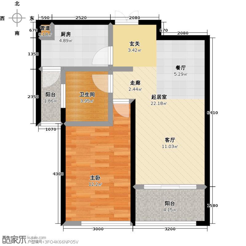 新城府翰苑57.00㎡一房:57.05平米户型