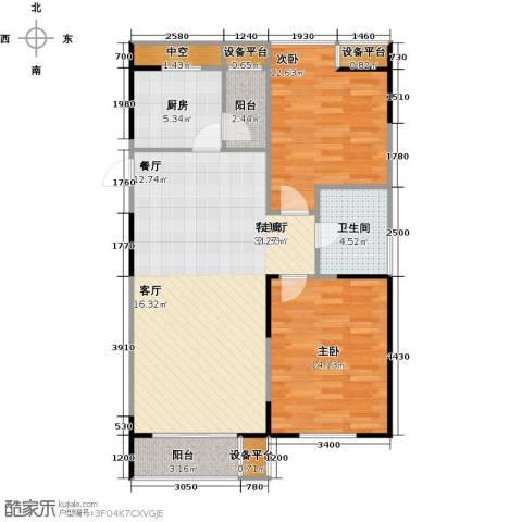 UP青年公社2室1厅1卫1厨98.00㎡户型图