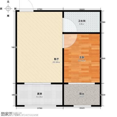 世水蓝庭1室1厅1卫1厨65.00㎡户型图