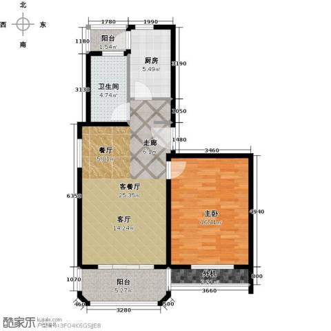 金沙嘉苑1室1厅1卫1厨61.01㎡户型图