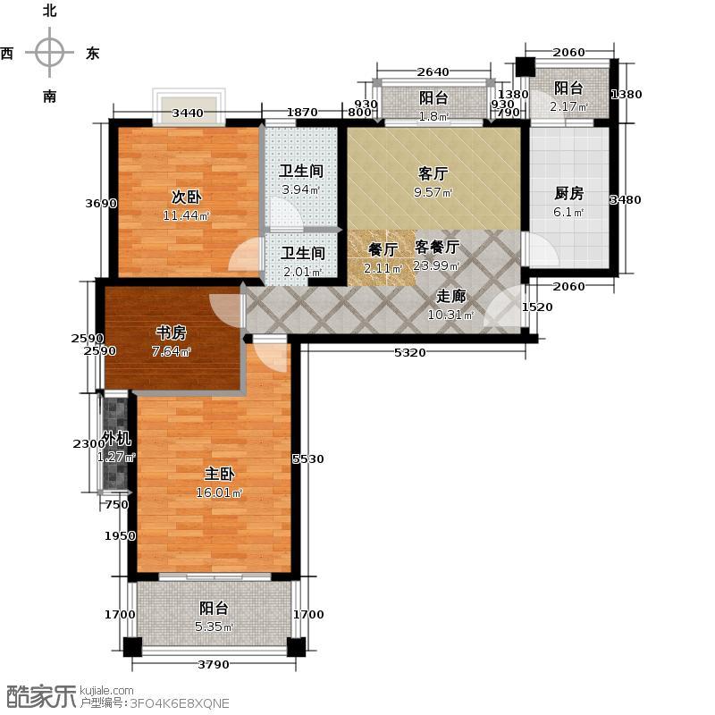 海尚墅林苑85.47㎡A户型3室1厅1卫户型3室1厅1卫