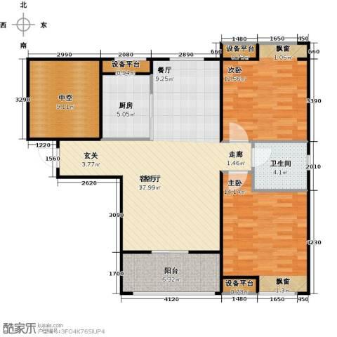 紫阳楚世家2室1厅1卫1厨93.00㎡户型图