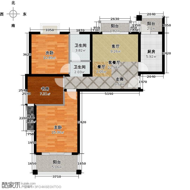 海尚墅林苑85.47㎡A户型 3室1厅1卫户型3室1厅1卫