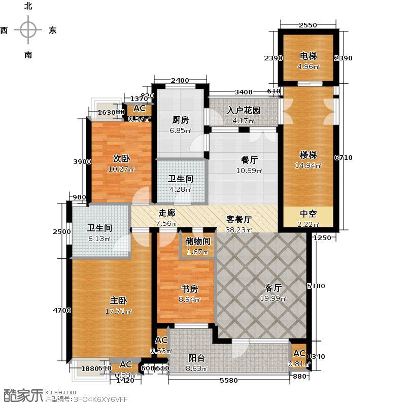 金地格林世界电梯洋房8.5标准层3室2厅2卫 131㎡户型