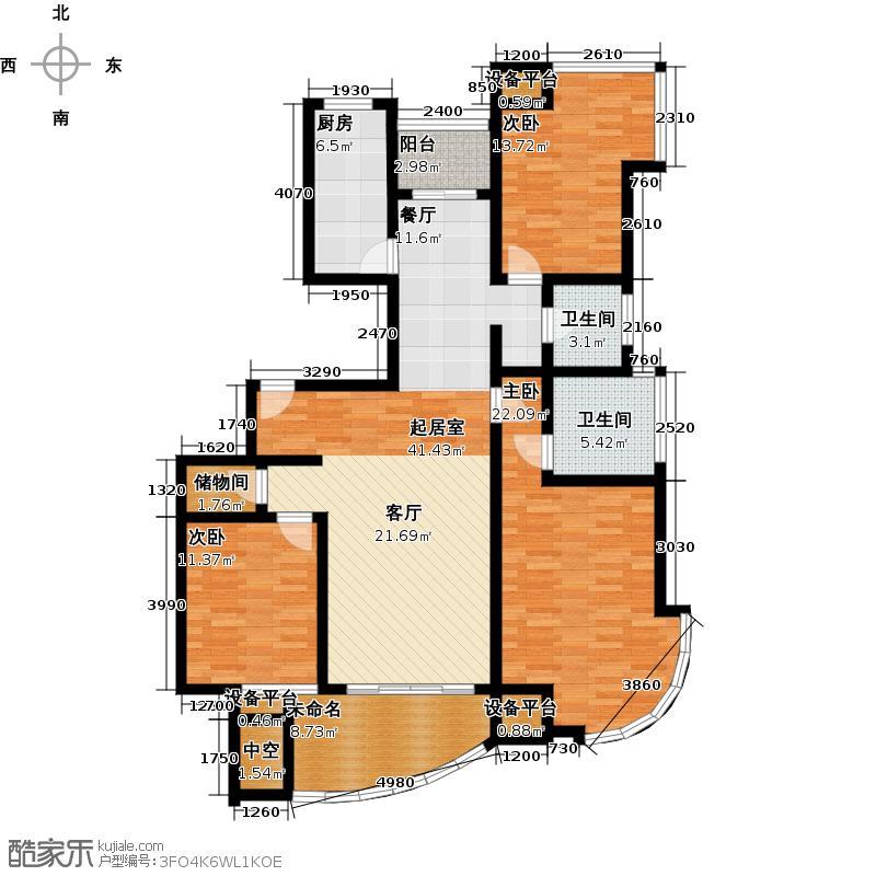 锦绣前程140.00㎡房型: 三房; 面积段: 140 -160 平方米;户型